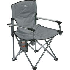 New High Sierra Deluxe Gray Camping Folding Chair with Carrying Case #HighSierra