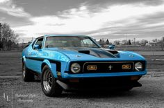 A buddy of mines car #mach1 #photography #ford #mustang #1970s #blue #blackwhite #unlimitedlightphotography