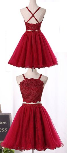 1cecda790ba Wine Red Two Piece Tulle And Lace Homecoming Dress