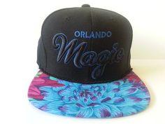 release date: c3d6f 0c549 Amazon.com   Mitchell and Ness NBA Orlando Magic Custom Snapback Cap  Blue  Neon Flowers   Sports Fan Baseball Caps   Sports   Outdoors