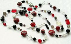Long Black Red and White Beaded Wraparound by maggiesbeadery, $50.00