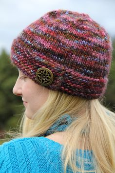 Knit Hat, Multicolored Beanie with Button, Women's Hand Knit Hat, Women's Hats, Winter Hat, Pink Turquoise, Teen