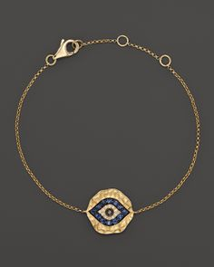 LOVE. Diamond and Sapphire Evil Eye Bracelet in 14K Yellow Gold   Bloomingdale's