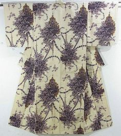 This is a Meisen Kimono with flower basket pattern, which is woven