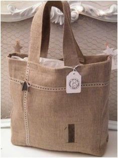 Natural linen tote bag  Bite black linen ribbon - star zinc - linen thread…