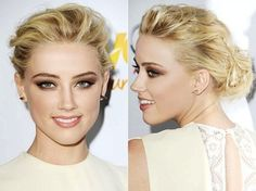 EFFORTLESS SUMMER UP-DO AND MAKEUP LOOK   A tousled and wispy bun, soft peach lipstick, and copper eye shadow