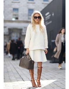 white on white. Gladiator Sandals.