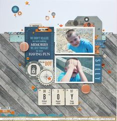 BOY - Scrapbook.com - Orange and blue embellishments are perfect for boy-themed layouts!