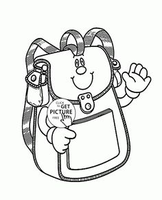 school bag smiling coloring page for kids back to school coloring pages printables free - School Coloring Pages Printable