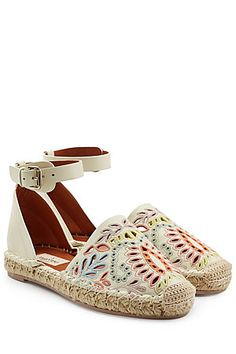 With a chunky raffia midsole, these Valentino espadrilles are made luxurious in white leather and with a pretty, multicolored embroidered design #Stylebop