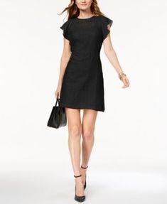 6e5796c92a83c Michael Kors Petite Embroidered Ruffle-Sleeve A-Line Dress   Reviews -  Dresses - Petites - Macy s