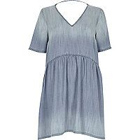 Light blue denim smock dress