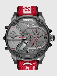 Daddy watch is a Macy's Exclusive and features a gunmetal dial with red accents, chronograph movement, and red nylon strap with silicone backing with white Diesel sport-inspired logo for a pop of contrast. Men's Watches, Cool Watches, Jewelry Watches, Wrist Watches, Unique Watches, Amazing Watches, Dream Watches, Vintage Watches, Fashion Watches