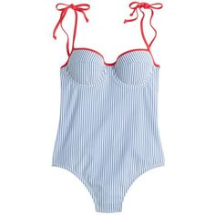 cbd990d464 Crew Womens Long-Torso Tipped Seersucker Underwire Shoulder-Tie One-Piece  Swimsuit