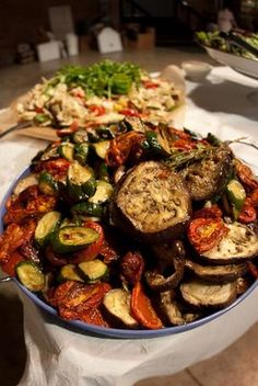 roasted vegetables would be perfect for a self-catered wedding because they can be done beforehand.