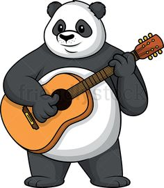 Panda Playing The Guitar: Royalty-free stock vector illustration of an adorable panda mascot character smiling as it plays the guitar. Pandas Playing, Panda Art, Playing Guitar, Tigger, Character Design, Clip Art, Disney Characters, Decorative Items, Plays