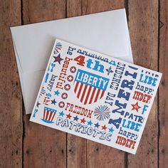 Patriotic Greeting Cards, Thank You Cards, Fourth of July, Thinking of You Cards, America Cards, Independence, Any Occasion Cards, Set of 2 by TiddleywinksDesigns on Etsy