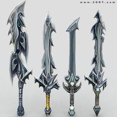 Fantasy Swords | fantasy arms weapons sword shield bow axe claw staff 3d lowpoly ...