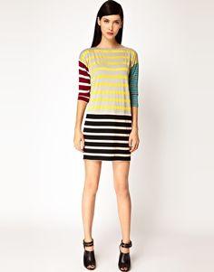 patchwork stripe dress
