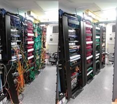 Dressing up and fixing a network switch rack. Unsure what the different color cables mean in this installation.