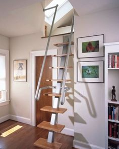 Simply Cool Staircase Design For Small Spaces In Ingenious Inspiration Ideas Stairs Stairs For Tight Spaces, Small Space Stairs, Small Space Kitchen, Small Spaces, House Ladder, Tiny House Stairs, Tiny House Loft, Tiny Houses, Interior Staircase