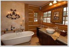 Western Bathroom Decor, Rustic Bathroom Lighting, Rustic Master Bathroom, French Bathroom, Cozy Bathroom, Rustic Bathroom Designs, Rustic Bathroom Vanities, Rustic Bathrooms, Bathroom Styling
