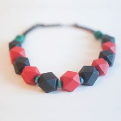 Black & Red Beaded Christmas Chunky Statement by sanwaitsai