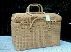 Country French Picnic Vintage Basket Sewing by JewelsRosesNRust, $48.00