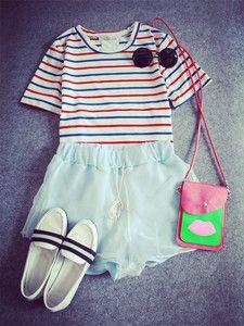 #romwe#fashion#shorts/www.romwe.com Cute for 4yh of july