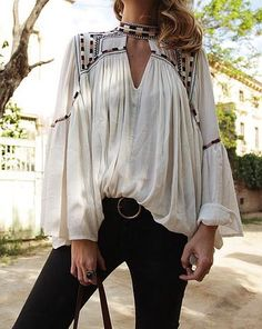 white peasant blouse top, made special by the choker neck
