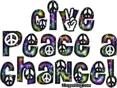 Peace Sign Glitter Graphics | give_peace_a_chance_multi_colored_peace_sign_glitter_text.gif