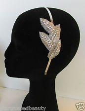 Silver Diamante Leaf Side Accent Headband Vintage 1920s Flapper Bridal Prom M16 Vintage Headbands, Headbands For Women, 1920s Flapper, Vintage Ladies, Prom, Bridal, Heels, Boots, Silver