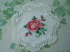 Cross Stitch DoilyPink Rose with BudsCottage by WitsEndDesign on etsy