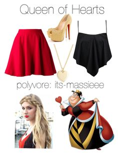 """""""Queen of Hearts"""" by its-massieee ❤ liked on Polyvore featuring Disney, J.Crew, Boohoo, Charmsies, Elle Sasson, Christian Louboutin, women's clothing, women's fashion, women and female"""
