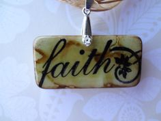 Surrounded by Faith Brown Swirl Domino Pendant by pendantparadise, $9.95