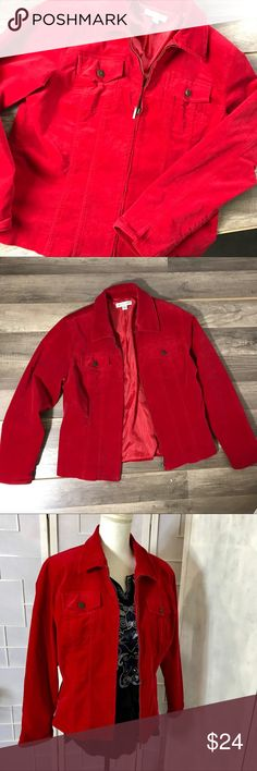 "Coldwater Creek Red Velvet Stretch zipper jacket Coldwater Creek Red Velvet Stretch  Zipper Jacket  Size large  Measurements- Bust 17"" Length 23"" Worn twice on set Originally $49.95 Coldwater Creek Jackets & Coats Jean Jackets"