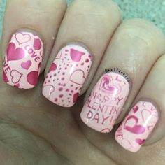 Valentines Day stamping nail art