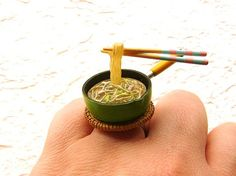 Kawaii Ring Japanese Floating  Yakisoba Noodles by SouZouCreations so cute..