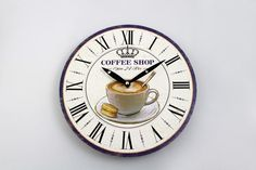 Holz-Uhr Coffee Shop 28,8 cm Coffee Shop, Shops, Clock, Wall, Shopping, Home Decor, Wooden Watch, Coffee Mugs, Clocks
