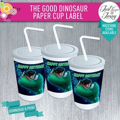 THE GOOD DINOSAUR cup stickers/Labels- Digial download by JustForYouByJenny on Etsy Custom Party Invitations, Happy Birth, The Good Dinosaur, 2nd Birthday, Good Things, Stickers, Handmade Gifts, Paper, Etsy