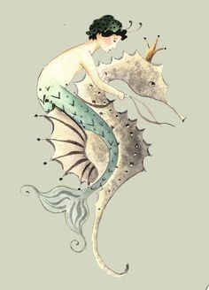 Part of Mermaid Series painted by Katharine Gracey. Mermaid riding a sea horse.
