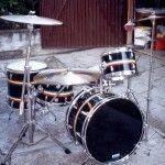 GRETSCH BLACK NITRON WITH JAMAICAN STRIPES circa 1974/75    Misure/Size : Bass 22″ x 16″, Tom 12″ x 9″, 13″ x 10″, Floor tom 16″x16″, Snare Steel 14″ x 5″ Gretsch Drums, Bass, Stripes, Floor, Steel, Pavement, Boden, Flooring, Lowes