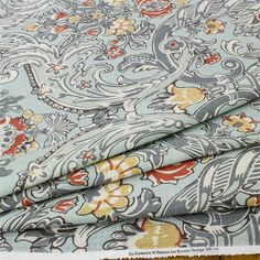 Discount Fabric Online, Buy Fabric Online, Bed Sheets, Fabric Design, Blue Grey, Upholstery, Pillows, Floral, Stuff To Buy
