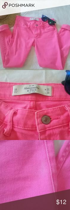 *Sale!* Abercrombie jeans Hot pink, minimal wear! Abercrombie & Fitch Jeans Skinny