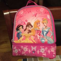 "GIRLS PRINCESS LUNCH BOX ""BRAND NEW COLOR PINK ZIPPER COMPARTMENT ON TOP AND COMPARTMENT ON BOTTOM Disney Other"