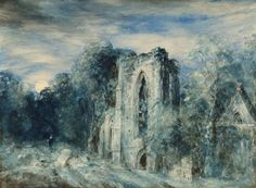 John Constable - Netley Abbey by Moonlight, 1833, watercolour and pencil on paper