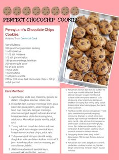 Resep chocochip cookis 1 Cookie Recipes, Snack Recipes, Snacks, Roti Canai Recipe, Cream Cheese Homemade, Tasty Chocolate Chip Cookies, Indonesian Desserts, Coffee Cookies, Choco Chips