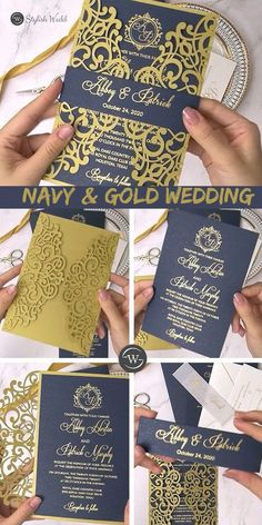 gold laser cut wedding invitation with gold hot foil printed on navy blue cardstock SWWS123 #wedding #weddinginvitations#stylishwedd #stylishweddinvitations #vellumweddinginvitations