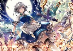Tags: Anime, Cross, Chain, Touhou, Izayoi Sakuya, Dagger, Clock