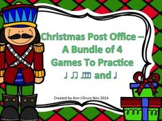 This Christmas themed file contains 4 games, each with 12 different rhythm patterns:  Game One - Quarter notes (ta) and paired eighth notes (ti-ti) Game Two - Quarter rest (ta rest) Game Three - Half notes (ta-a) and Game Four - Sixteenth notes (ti-ka-ti-ka)  Students could work in small groups or as individuals.  Could also be used as a rhythmic composition activity.